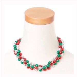 Jewelry - Red green and silver sleigh bells necklace